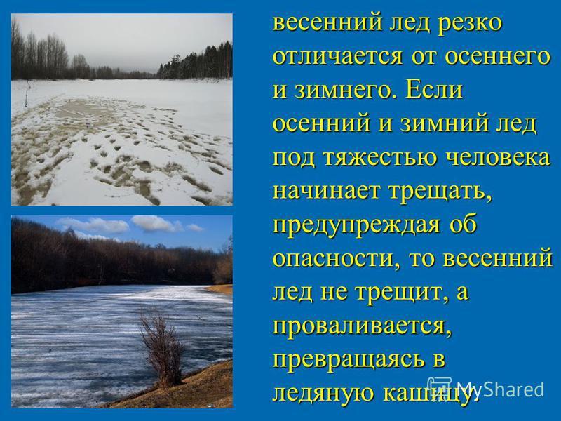 весенний лед резко отличается от осеннего и зимнего. Если осенний и зимний лед под тяжестью человека начинает трещать, предупреждая об опасности, то весенний лед не трещит, а проваливается, превращаясь в ледяную кашицу. весенний лед резко отличается
