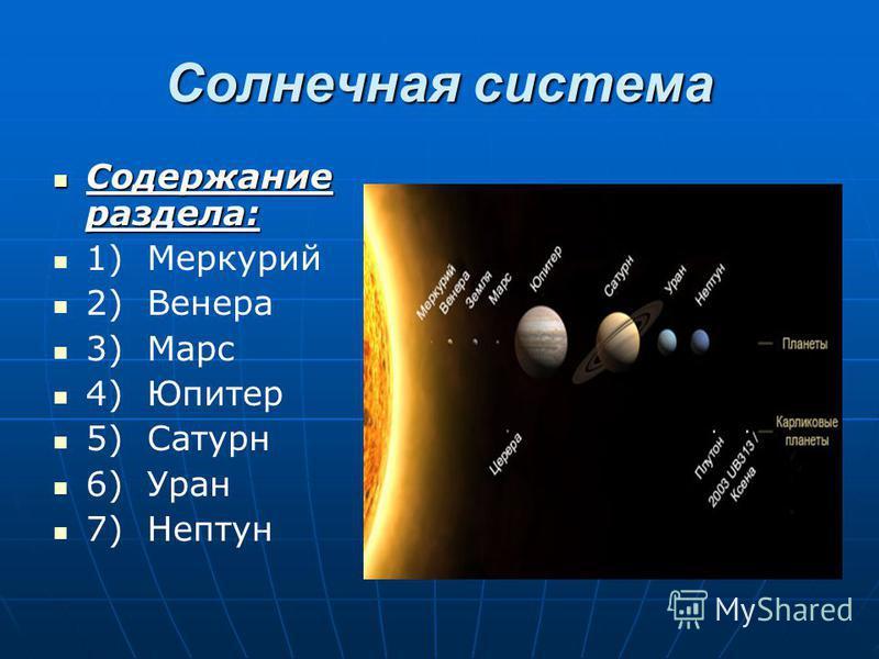 Солнечная система Содержание раздела: Содержание раздела: 1) Меркурий 2) Венера 3) Марс 4) Юпитер 5) Сатурн 6) Уран 7) Нептун