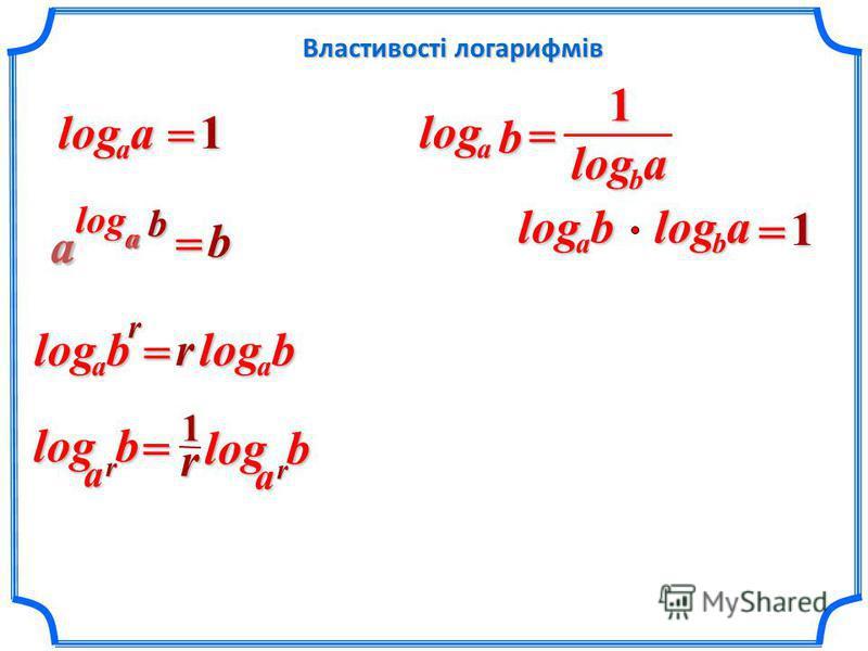 Властивості логарифмів aalog=1 b aloga =b ba a rb a log = rb a log =ablog alogb 1balogablog= 1 b r a log r1 rbalog=
