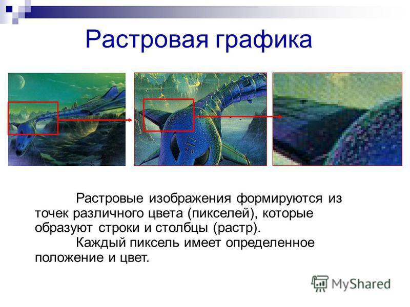 Растровая графика Растровые изображения формируются из точек различного цвета (пикселей), которые образуют строки и столбцы (растр). Каждый пиксель имеет определенное положение и цвет.