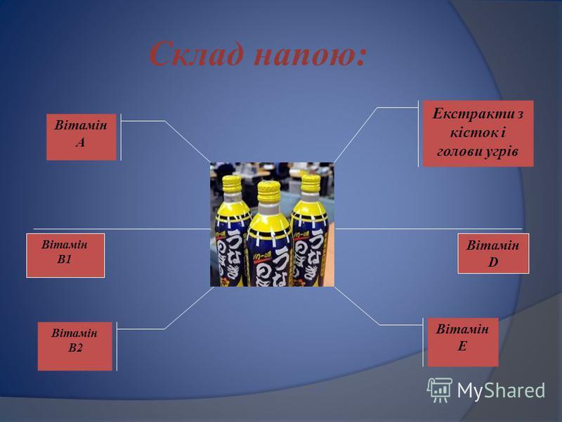 Склад напою: Екстракти з кісток і голови угрів Вітамін Е Вітамін А Вітамін В2 Вітамін D Вітамін В1
