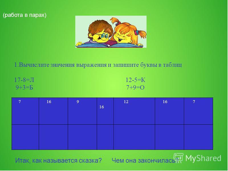 (работа в парах) 1. Вычислите значения выражения и запишите буквы в таблиц 17-8=Л 12-5=К 9+3=Б 7+9=О 7 16 9 12 16 7 Итак, как называется сказка? Чем она закончилась?