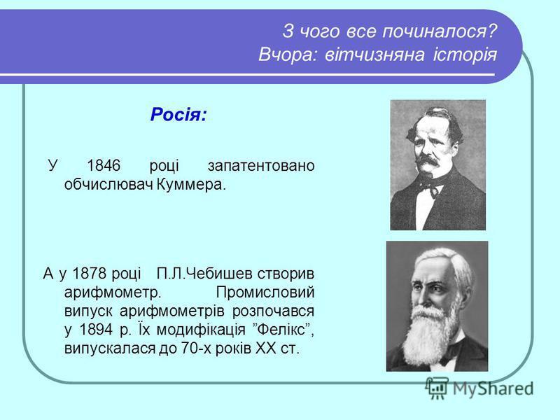 З чого все починалося? Вчора: вітчизняна історія Росія: У 1846 році запатентовано обчислювач Куммера. А у 1878 році П.Л.Чебишев створив арифмометр. Промисловий випуск арифмометрів розпочався у 1894 р. Їх модифікація Фелікс, випускалася до 70-х років
