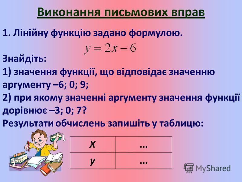 Виконання письмових вправ 1. Лінійну функцію задано формулою. Знайдіть: 1) значення функції, що відповідає значенню аргументу –6; 0; 9; 2) при якому значенні аргументу значення функції дорівнює –3; 0; 7? Результати обчислень запишіть у таблицю: X...