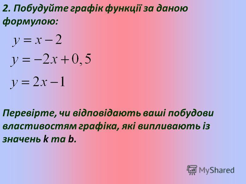 2. Побудуйте графік функції за даною формулою: Перевірте, чи відповідають ваші побудови властивостям графіка, які випливають із значень k та b.