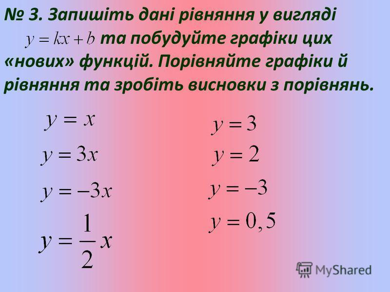 3. Запишіть дані рівняння у вигляді та побудуйте графіки цих «нових» функцій. Порівняйте графіки й рівняння та зробіть висновки з порівнянь.
