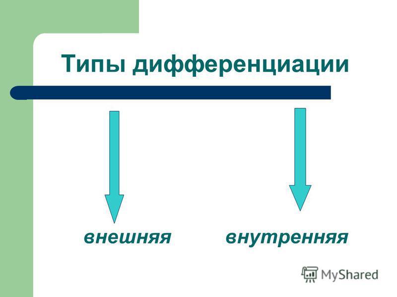 Типы дифференциации внешняя внутренняя