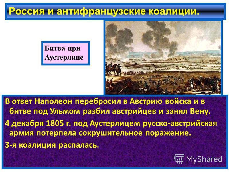 Россия и антифранцузские коалиции. В ответ Наполеон перебросил в Австрию войска и в битве под Ульмом разбил австрийцев и занял Вену. 4 декабря 1805 г. под Аустерлицем русско-австрийская армия потерпела сокрушительное поражение. 3-я коалиция распалась