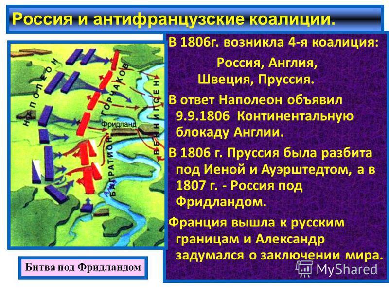 Россия и антифранцузские коалиции. В 1806 г. возникла 4-я коалиция: Россия, Англия, Швеция, Пруссия. В ответ Наполеон объявил 9.9.1806 Континентальную блокаду Англии. В 1806 г. Пруссия была разбита под Иеной и Ауэрштедтом, а в 1807 г. - Россия под Фр