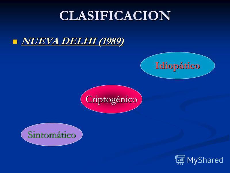 CLASIFICACION NUEVA DELHI (1989) Idiopático Criptogénico Sintomático