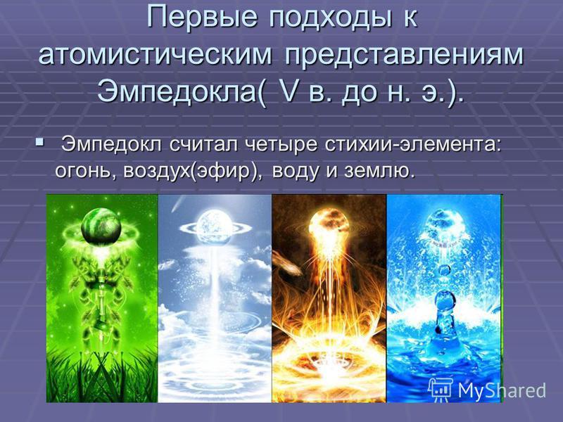 Первые подходы к атомистическим представлениям Эмпедокла( V в. до н. э.). Эмпедокл считал четыре стихии-элемента: огонь, воздух(эфир), воду и землю. Эмпедокл считал четыре стихии-элемента: огонь, воздух(эфир), воду и землю.