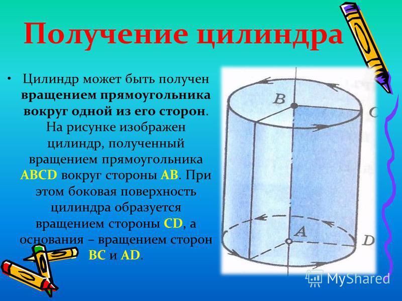 Получение силиндра Цилиндр может быть получен вращением прямоугольника вокруг одной из его сторон. На рисунке изображен силиндр, полученный вращением прямоугольника АВСD вокруг стороны АВ. При этом боковая поверхность силиндра образуется вращением ст