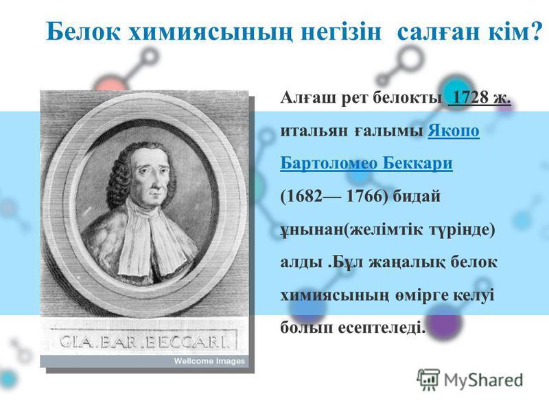 Белок химиясының негізін салған кім? Алғаш рет белокты 1728 ж. итальян ғалымы Якопо Бартоломео Беккари (1682 1766) бидай ұнынан(желімтік түрінде) алды.Бұл жаңалық белок химиясының өмірге келуі болып есептеледі.