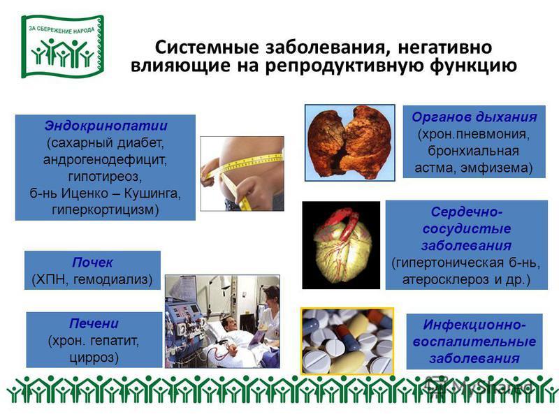 Системные заболевания, негативно влияющие на репродуктивную функцию Органов дыхания (хрон.пневмония, бронхиальная астма, эмфизема) Инфекционно- воспалительные заболевания Печени (хрон. гепатит, цирроз) Эндокринопатии (сахарный диабет, андрогенодефици