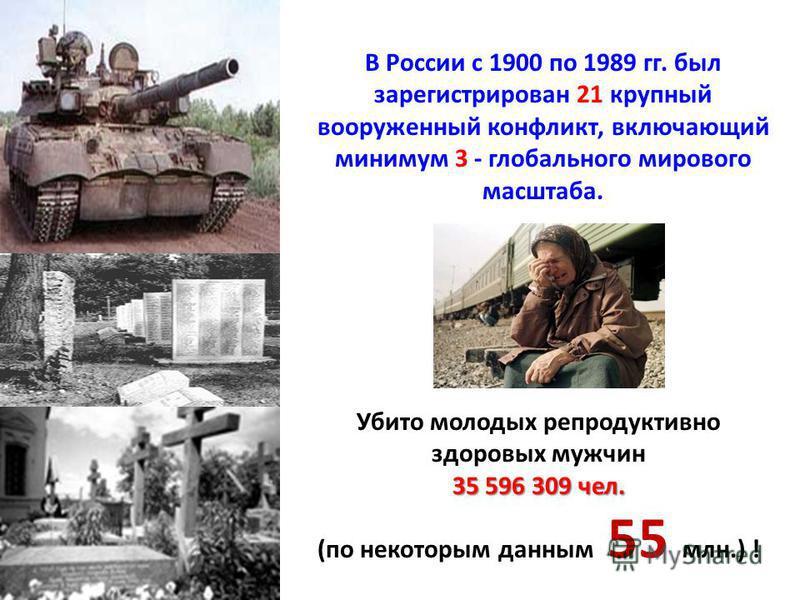 В России с 1900 по 1989 гг. был зарегистрирован 21 крупный вооруженный конфликт, включающий минимум 3 - глобального мирового масштаба. Убито молодых репродуктивно здоровых мужчин 35 596 309 чел. (по некоторым данным 55 млн.) !