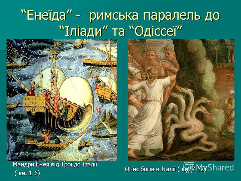 Енеїда - римська паралель до Іліади та Одіссеї Мандри Енея від Трої до Італії (кн. 1-6 ) (кн. 1-6 ) Опис богів в Італії ( кн. 7-12) Мандри Енея від Трої до Італії ( кн. 1-6) ( кн. 1-6)