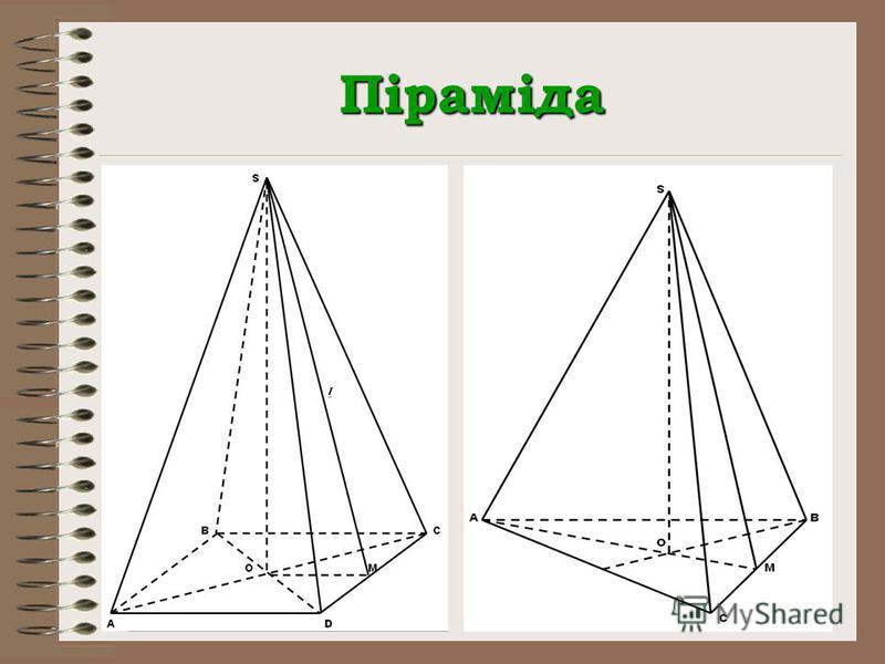 Піраміда V = S осн. H S біч. = ½ P осн. l S п.п. = S біч. + S осн.