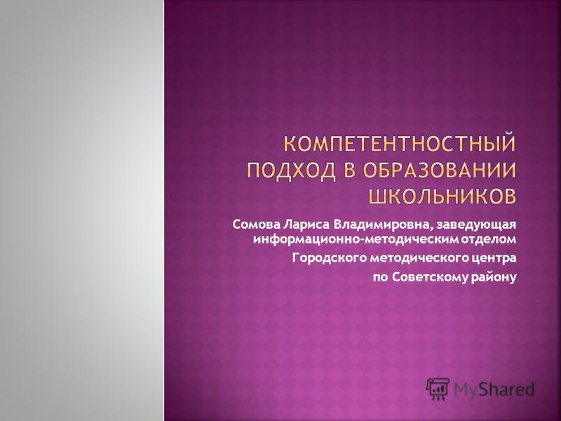 Сомова Лариса Владимировна, заведующая информационно-методическим отделом Городского методического центра по Советскому району