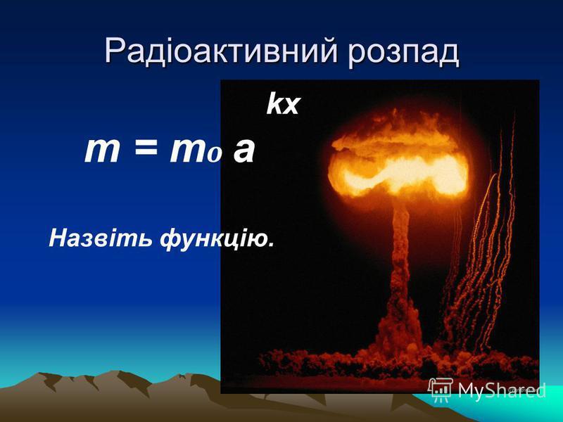 Радіоактивний розпад kx m = m o a Назвіть функцію.