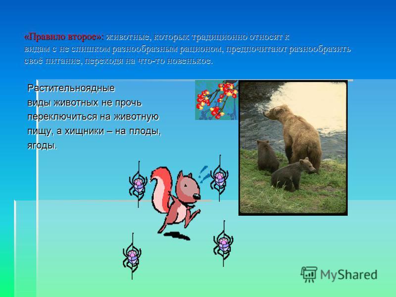 «Правило второе»: животные, которых традиционно относят к видам с не слишком разнообразным рационом, предпочитают разнообразить своё питание, переходя на что-то новенькое. Растительноядные виды животных не прочь переключиться на животную пищу, а хищн