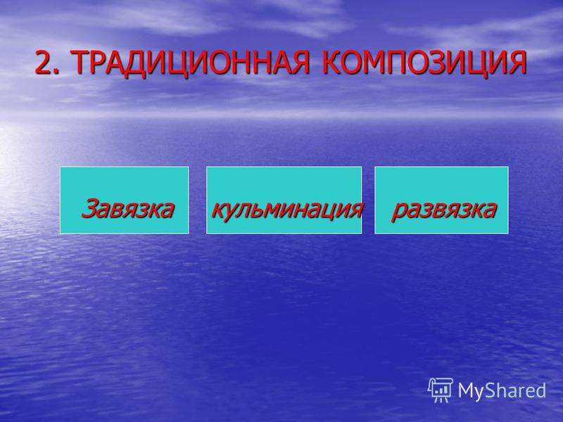 2. ТРАДИЦИОННАЯ КОМПОЗИЦИЯ Завязка кульминация развязка Завязка кульминация развязка