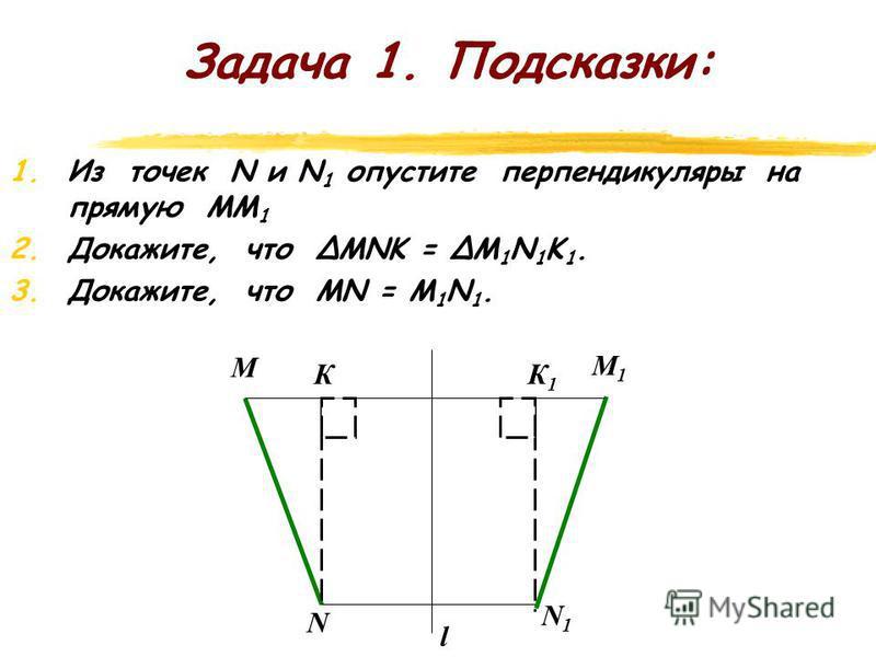 Задача 1. z Пусть М и N какие-либо точки, l – ось симметрии. М 1 и N 1 – точки, симметричные точкам М и N относительно прямой l. Докажите, что расстояние между точками М и N при осевой симметрии сохраняется, т.е. МN = M 1 N 1. l M N M 1 N 1