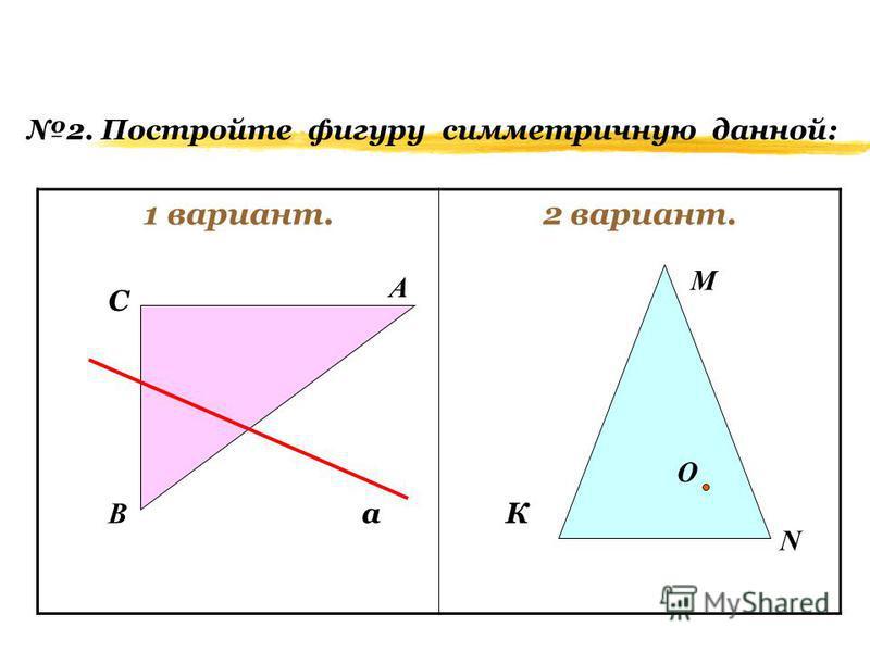 (Дополнительно) 1 вариант.2 вариант. 1. Постройте фигуру симметричную данной: А В С К М N O a