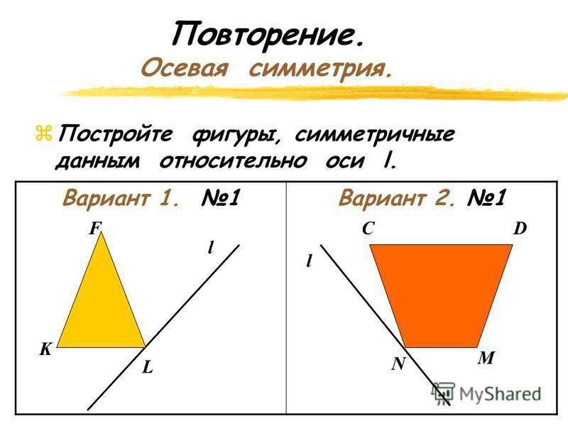 Повторение. Осевая симметрия. z Постройте точки симметричные А и В относительно прямой l. l A В А1А1 В1В1 А В А2А2