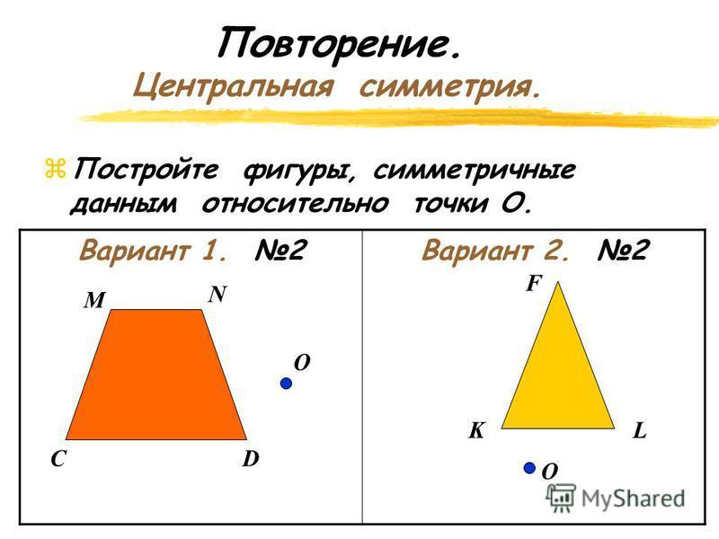 Повторение. Центральная симметрия. z Постройте точки, симметричные данным относительно точки О. О А В С А1А1 В1В1 С1С1