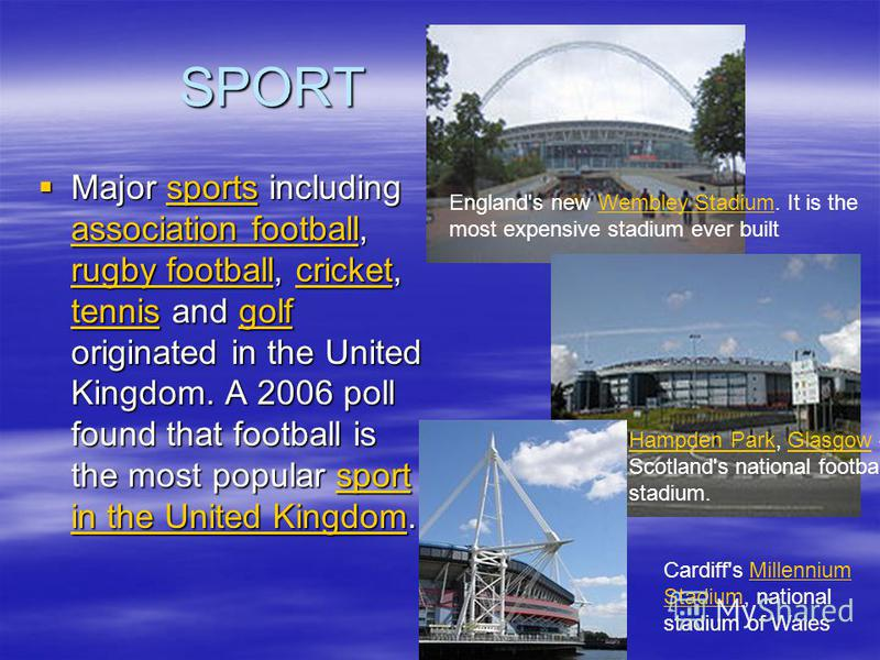 SPORT Major sports including association football, rugby football, cricket, tennis and golf originated in the United Kingdom. A 2006 poll found that football is the most popular sport in the United Kingdom. Major sports including association football
