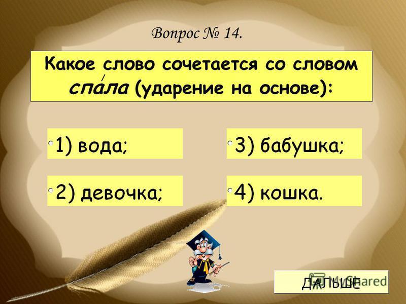Какое слово сочетается со словом спала (ударение на основе): Вопрос 14.