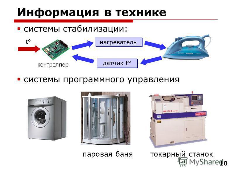 10 Информация в технике системы стабилизации: системы программного управления нагреватель датчик t° t° паровая банятокарный станок контроллер