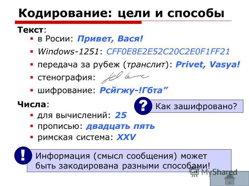 51 Кодирование: цели и способы Текст: в Росии: Привет, Вася! Windows-1251: CFF0E8E2E52C20C2E0F1FF21 передача за рубеж (транслит): Privet, Vasya! стенография: шифрование: Рсйгжу-!Гбта Информация (смысл сообщения) может быть закодирована разными способ