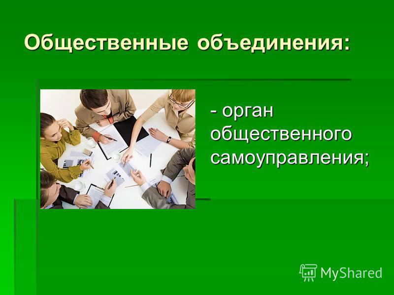 Общественные объединения: - орган общественного самоуправления;