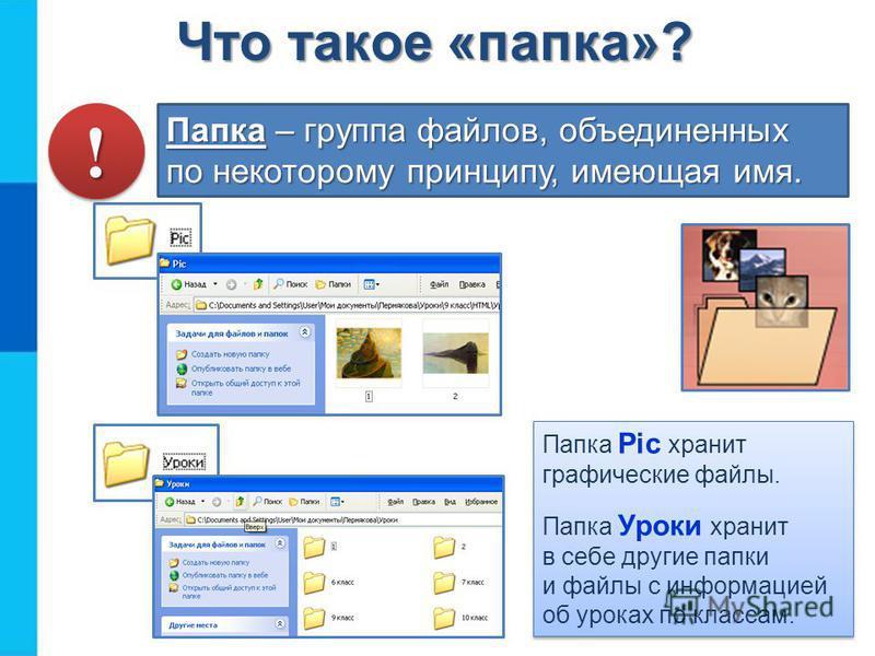 Папка – группа файлов, объединенных по некоторому принципу, имеющая имя. Папка Pic хранит графические файлы. Папка Уроки хранит в себе другие папки и файлы с информацией об уроках по классам. Папка Pic хранит графические файлы. Папка Уроки хранит в с