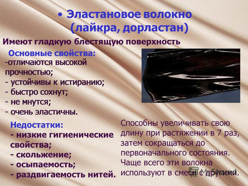 Эластановое волокно (лайкра, дорластан) Имеют гладкую блестящую поверхность -отличаются высокой прочностью; - устойчивы к истиранию; - быстро сохнут; - не мнутся; - очень эластичны. Основные свойства: Недостатки: - низкие гигиенические свойства; - ск