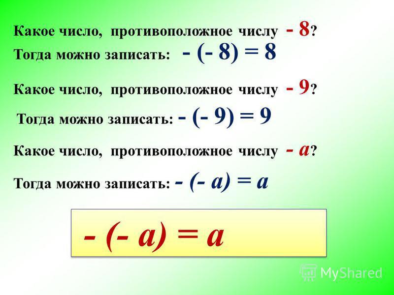 Тогда можно записать: - (- 8) = 8 Какое число, противоположное числу - 8 ? Какое число, противоположное числу - 9 ? Тогда можно записать: - (- 9) = 9 Какое число, противоположное числу - a ? Тогда можно записать: - (- a) = a - (- a) = a