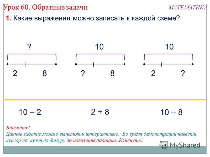 ? 82 1. Какие выражения можно записать к каждой схеме? Урок 60. Обратные задачи МАТЕМАТИКА 10 8??2 2 + 8 10 – 8 10 – 2 Внимание! Данное задание можно выполнять интерактивно. Во время демонстрации навести курсор на нужную фигуру до появления ладошки.