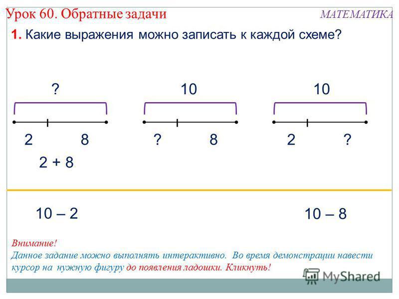 ? 82 1. Какие выражения можно записать к каждой схеме? 10 8? ?2 10 – 8 10 – 2 2 + 8 Внимание! Данное задание можно выполнять интерактивно. Во время демонстрации навести курсор на нужную фигуру до появления ладошки. Кликнуть! Урок 60. Обратные задачи