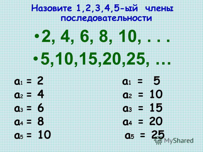 Назовите 1,2,3,4,5-ый члены последовательности 2, 4, 6, 8, 10,... 5,10,15,20,25, … a 1 = 2 a 1 = 5 a 2 = 4 a 2 = 10 a 3 = 6 a 3 = 15 a 4 = 8 a 4 = 20 a 5 = 10 a 5 = 25