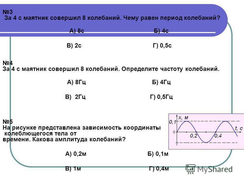 3 За 4 с маятник совершил 8 колебаний. Чему равен период колебаний? А) 8 с Б) 4 с В) 2 с Г) 0,5 с 4 За 4 с маятник совершил 8 колебаний. Определите частоту колебаний. А) 8Гц Б) 4Гц В) 2Гц Г) 0,5Гц 5 На рисунке представлена зависимость координаты коле