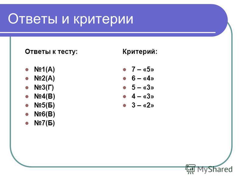 Ответы к тесту: 1(А) 2(А) 3(Г) 4(В) 5(Б) 6(В) 7(Б) Критерий: 7 – «5» 6 – «4» 5 – «3» 4 – «3» 3 – «2» Ответы и критерии
