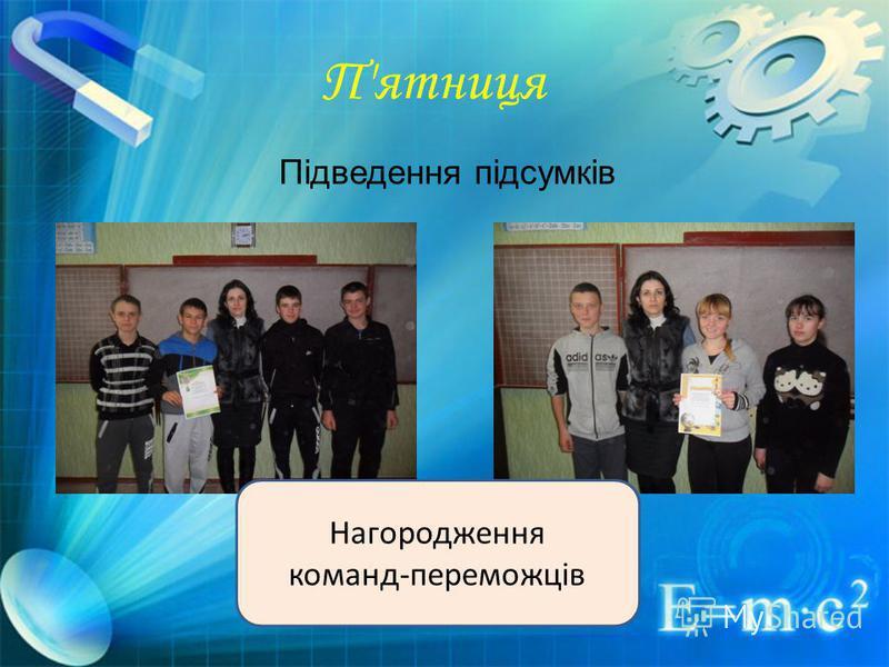 Підведення підсумків П'ятниця Нагородження команд-переможців