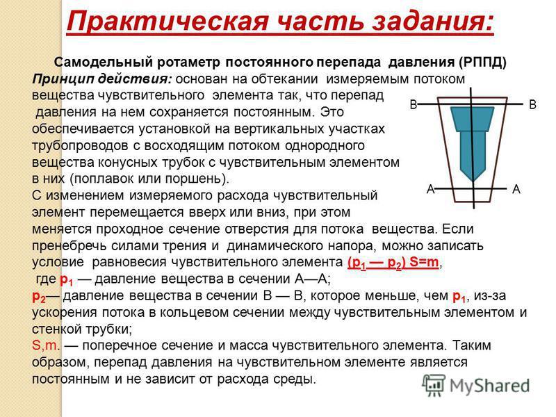 Практическая часть задания: Самодельный ротаметр постоянного перепада давления (РППД) Принцип действия: основан на обтекании измеряемым потоком вещества чувствительного элемента так, что перепад давления на нем сохраняется постоянным. Это обеспечивае