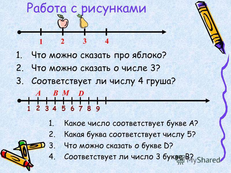Работа с рисунками 1. Что можно сказать про яблоко? 2. Что можно сказать о числе 3? 3. Соответствует ли числу 4 груша? 1 2 34 1 2 3 4 56 7 8 9 АB M D 1. Какое число соответствует букве А? 2. Какая буква соответствует числу 5? 3. Что можно сказать о б