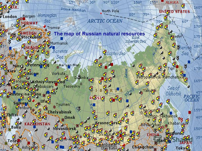 The map of Russian natural resources