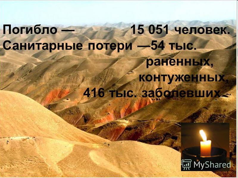 Погибло 15 051 человек. Санитарные потери 54 тыс. раненных, контуженных, 416 тыс. заболевших.