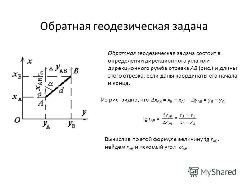 Обратная геодезическая задача Обратная геодезическая задача состоит в определении дирекционного угла или дирекционного румба отрезка АВ (рис.) и длины этого отрезка, если даны координаты его начала и конца. Из рис. видно, что х АВ = х В – х А ; у АВ