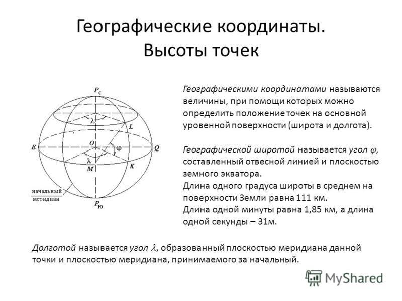 Географические координаты. Высоты точек Географическими координатами называются величины, при помощи которых можно определить положение точек на основной уровенной поверхности (широта и долгота). Географической широтой называется угол, составленный о