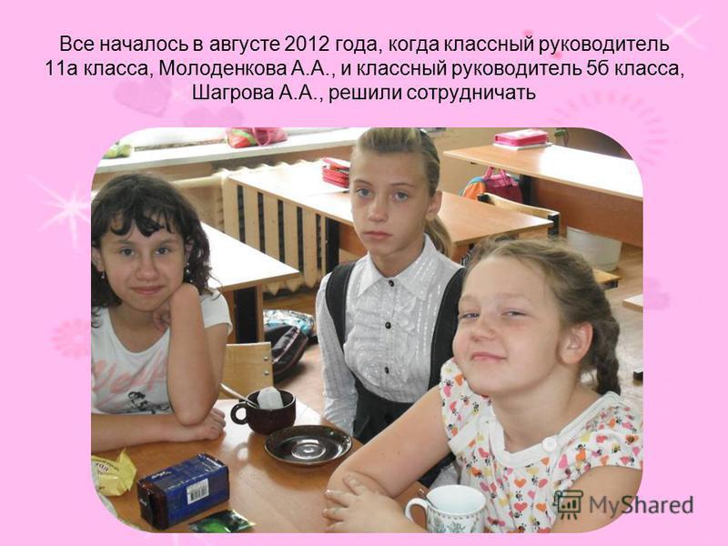 Все началось в августе 2012 года, когда классный руководитель 11 а класса, Молоденкова А.А., и классный руководитель 5 б класса, Шагрова А.А., решили сотрудничать